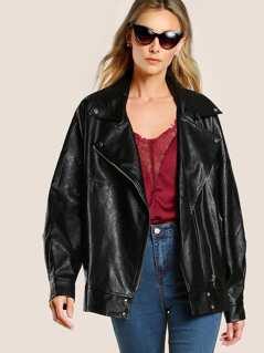 Oversize Faux Leather Jacket BLACK