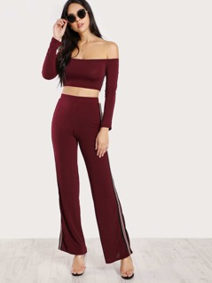 Side Striped Long Sleeve Crop Top & Matching Pants BURGUNDY