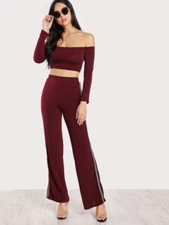 Side Striped Long Sleeve Crop Top & Matching Pants BURGUNDY