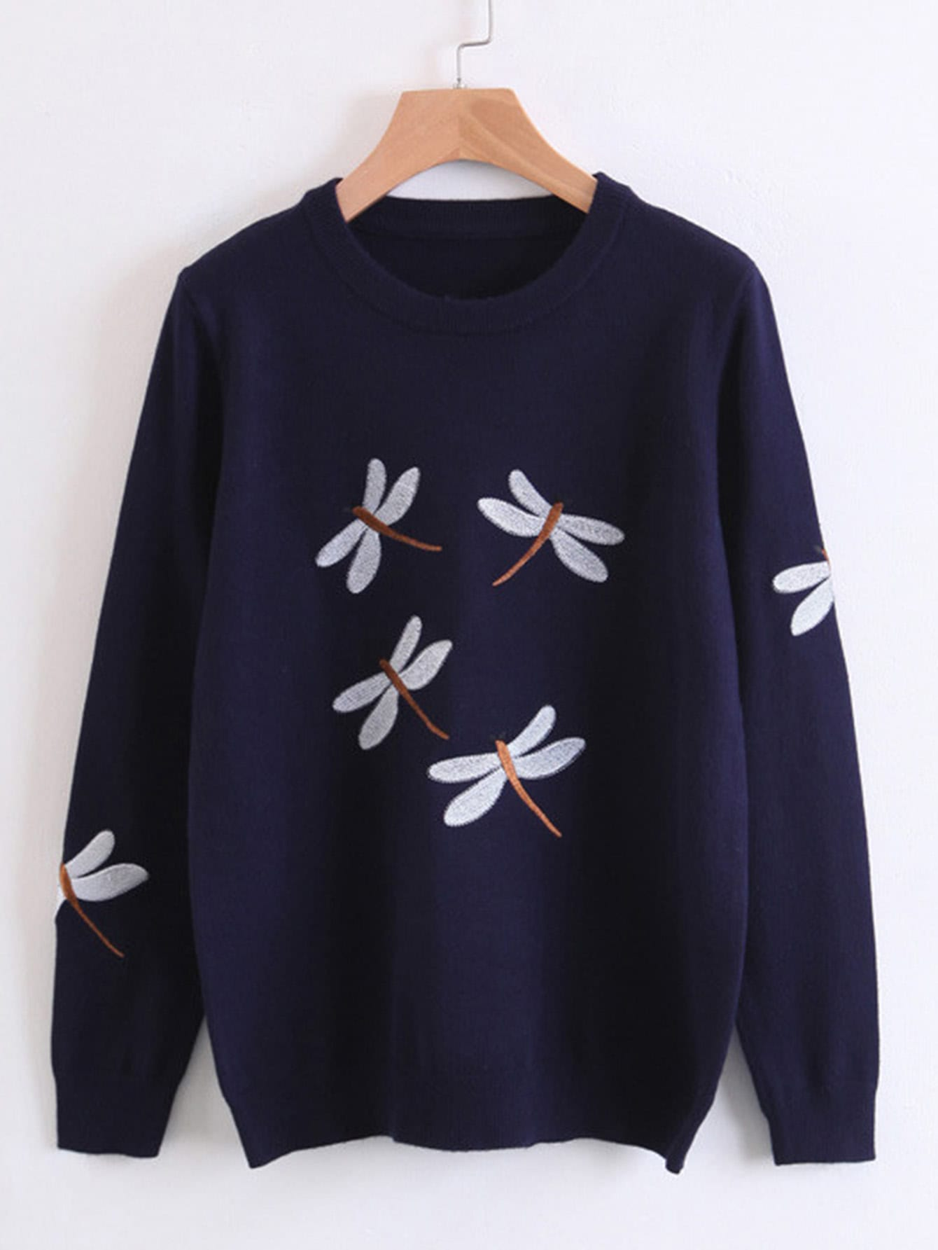 Dragonfly Embroidery Jumper Sweater