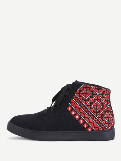 Geometric Embroidery High Top Trainers