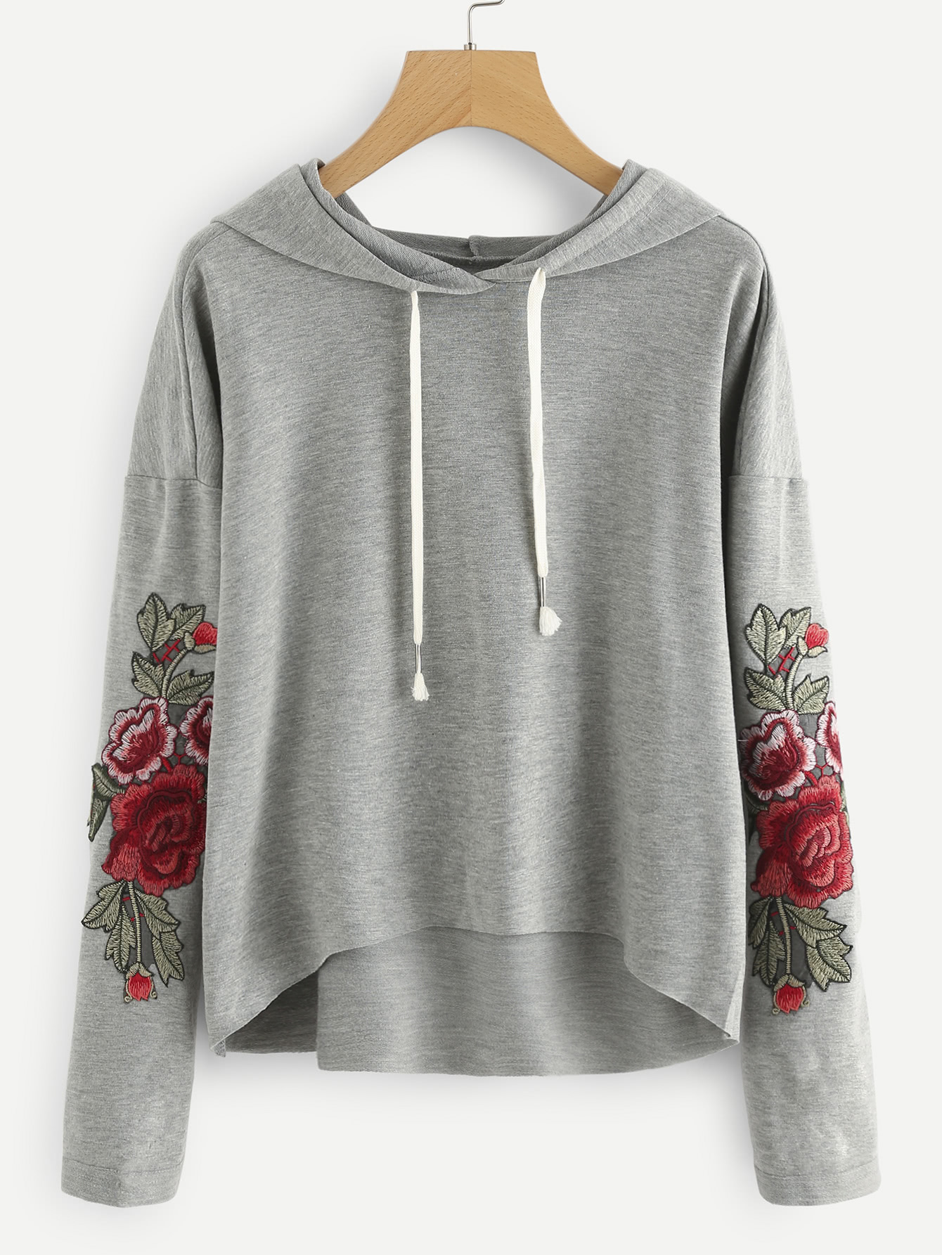 Drop Shoulder Rose Applique Hoodie