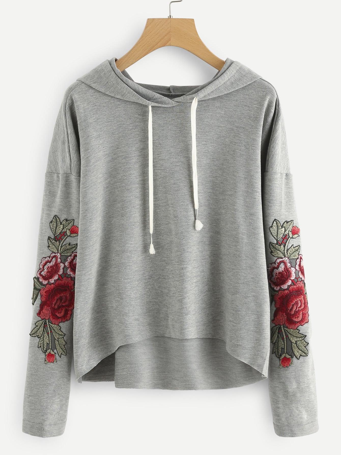 Купить Модный свитшот с капюшоном и цветочной аппликацией, null, SheIn
