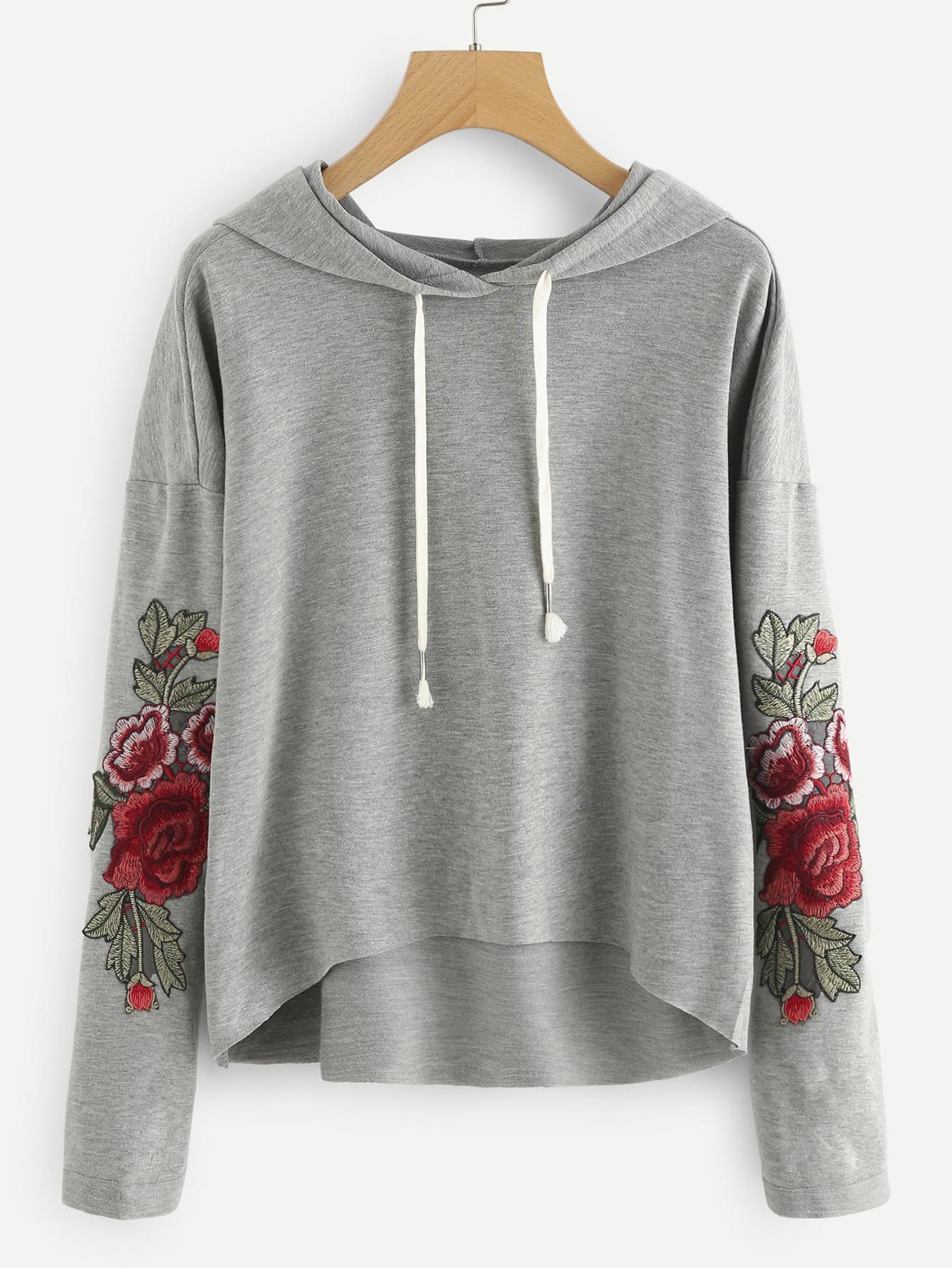 Drop Shoulder Rose Applique Hoodie two tone drop shoulder sweatshirt