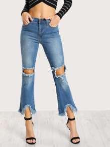 Frayed Flare Leg Pants DENIM