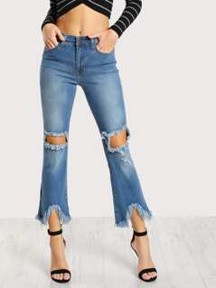 Frayed Flare Leg Pants DENIM