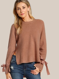 Tie Sleeve Ripped Sleeve Top PEACH
