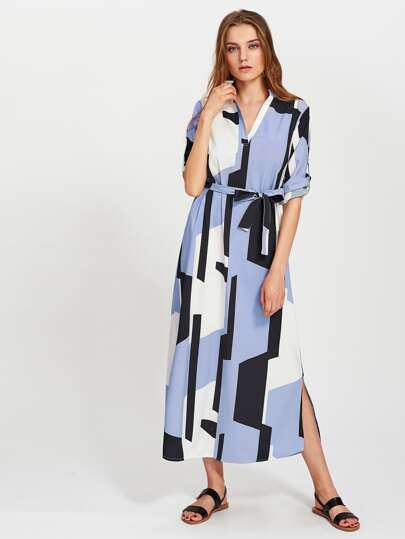Abstract Geo Print Self Tie Shirt Dress