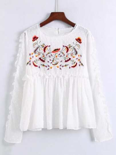 Frill Edge Textured Dot Babydoll Blouse