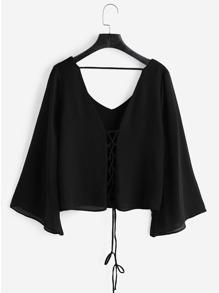 V Neckline Kimono Sleeve Lace Up Top