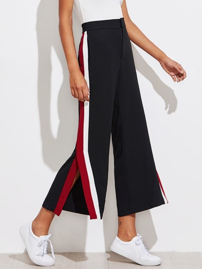 Color Block Tape Side Slit Pants