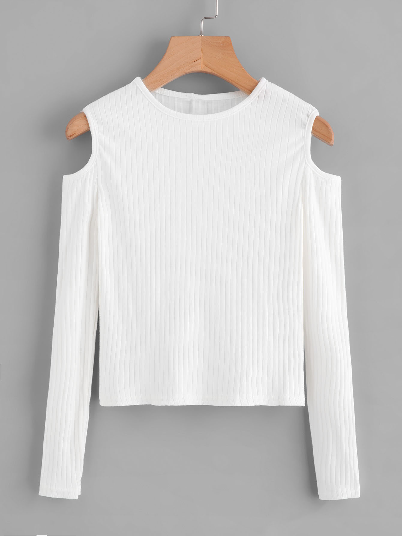 Cold Shoulder Ribbed Knit Sweater sweater170919150