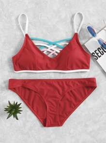 Criss Cross Front Bikini Set