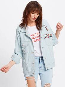 Bleach Wash Destructed Denim Jacket With Badges