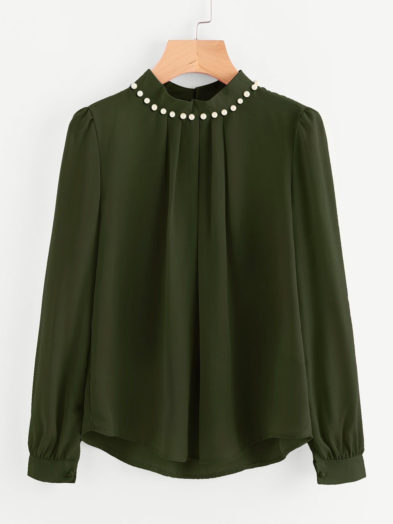 Pearl Beading Puff Sleeve Chiffon Blouse faux pearl long sleeve chiffon blouse