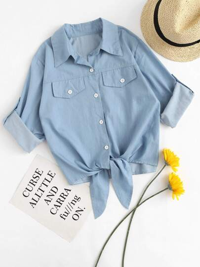 Roll Tab Sleeve Tie Hem Chambray Shirt