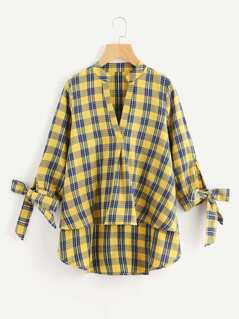 V-Placket Bow Cuff Dip Hem Check Blouse
