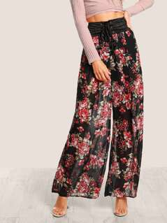 High Rise Lace Up Floral Print Mesh Pants BLACK