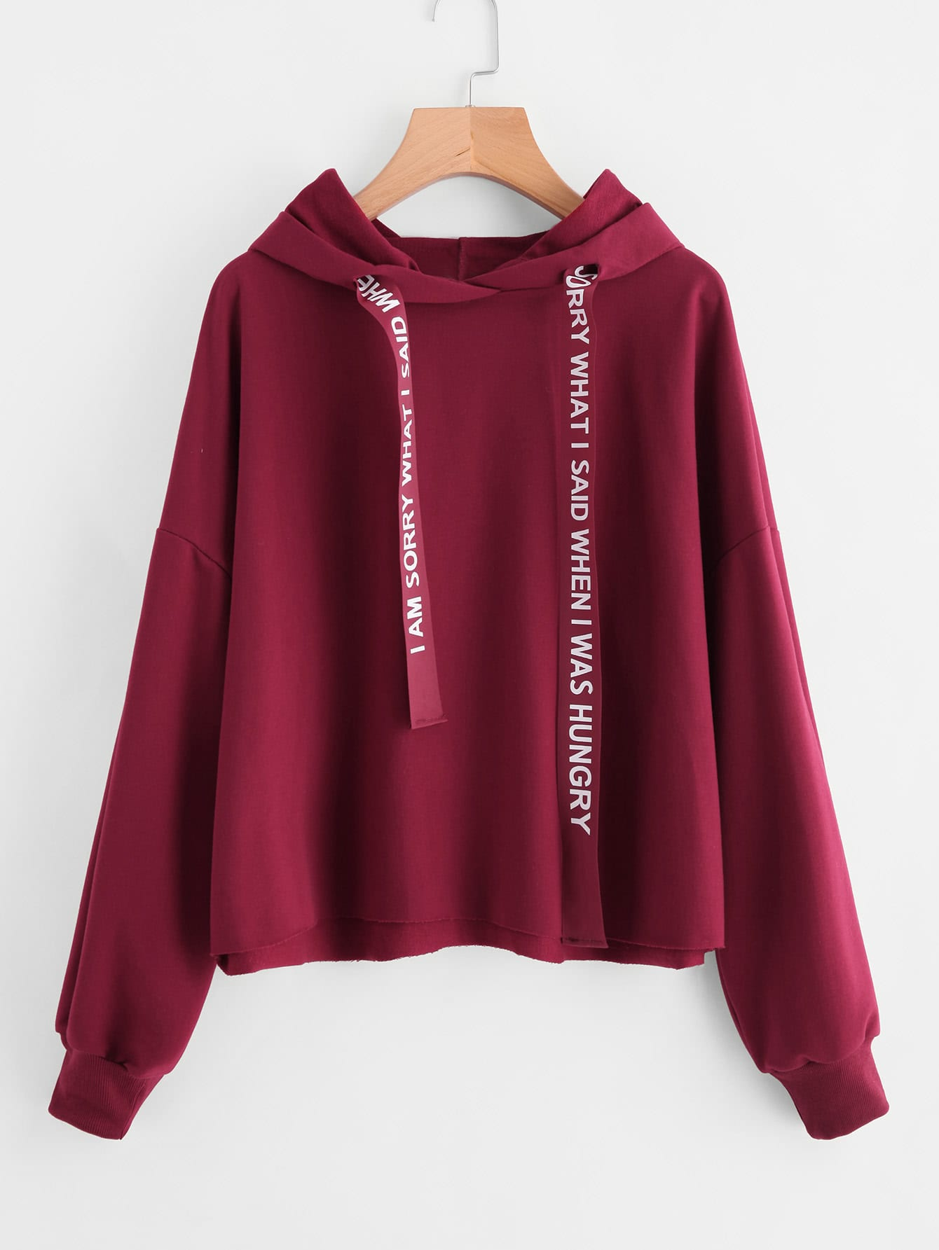 Drop Shoulder Drawstring Hoodie