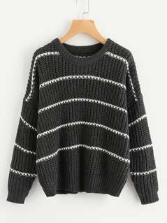 Drop Shoulder Striped Sweater