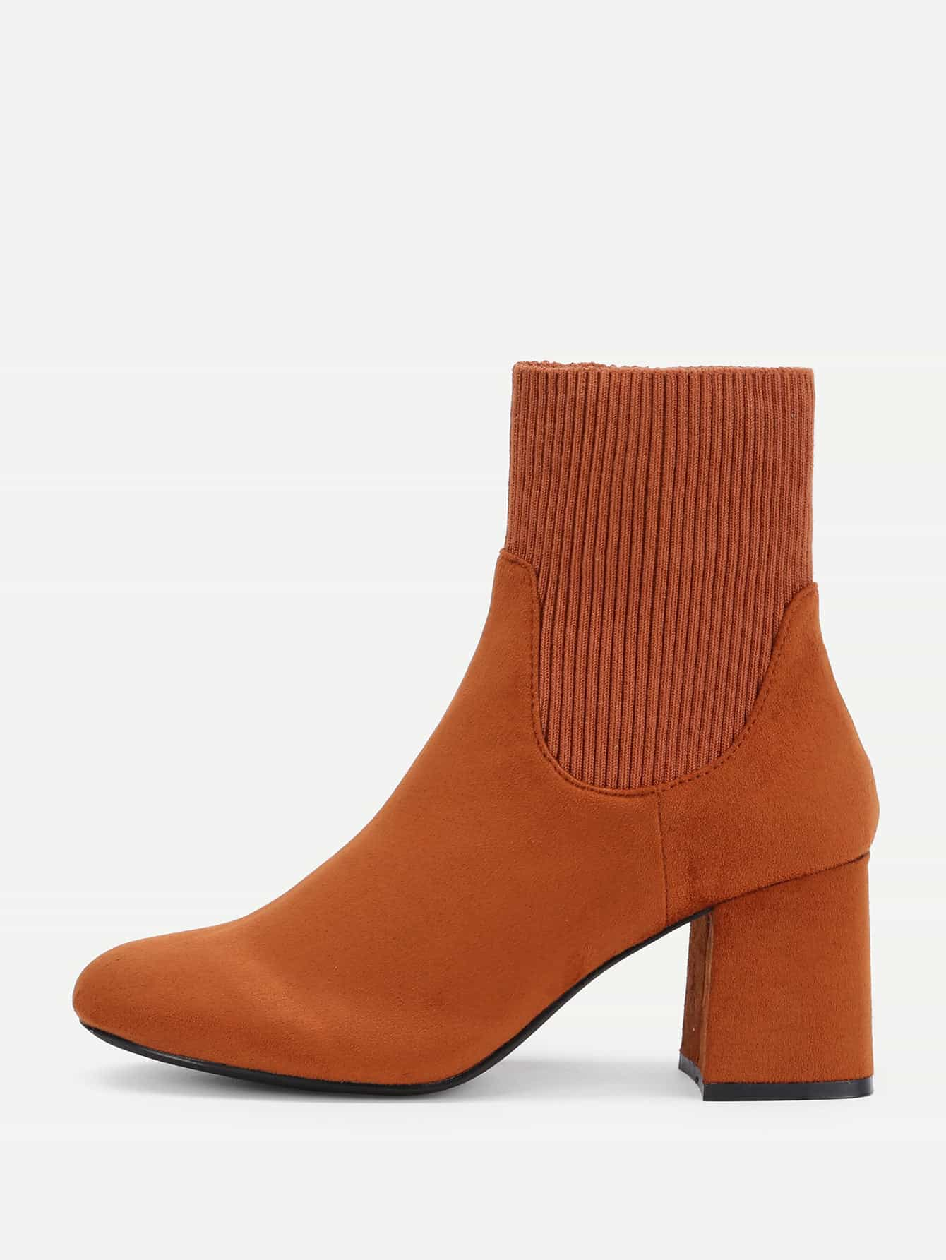 Image of Almond Toe Block Heeled Ankle Boots