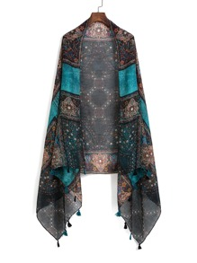 Mixed Print Tassel Detail Scarf