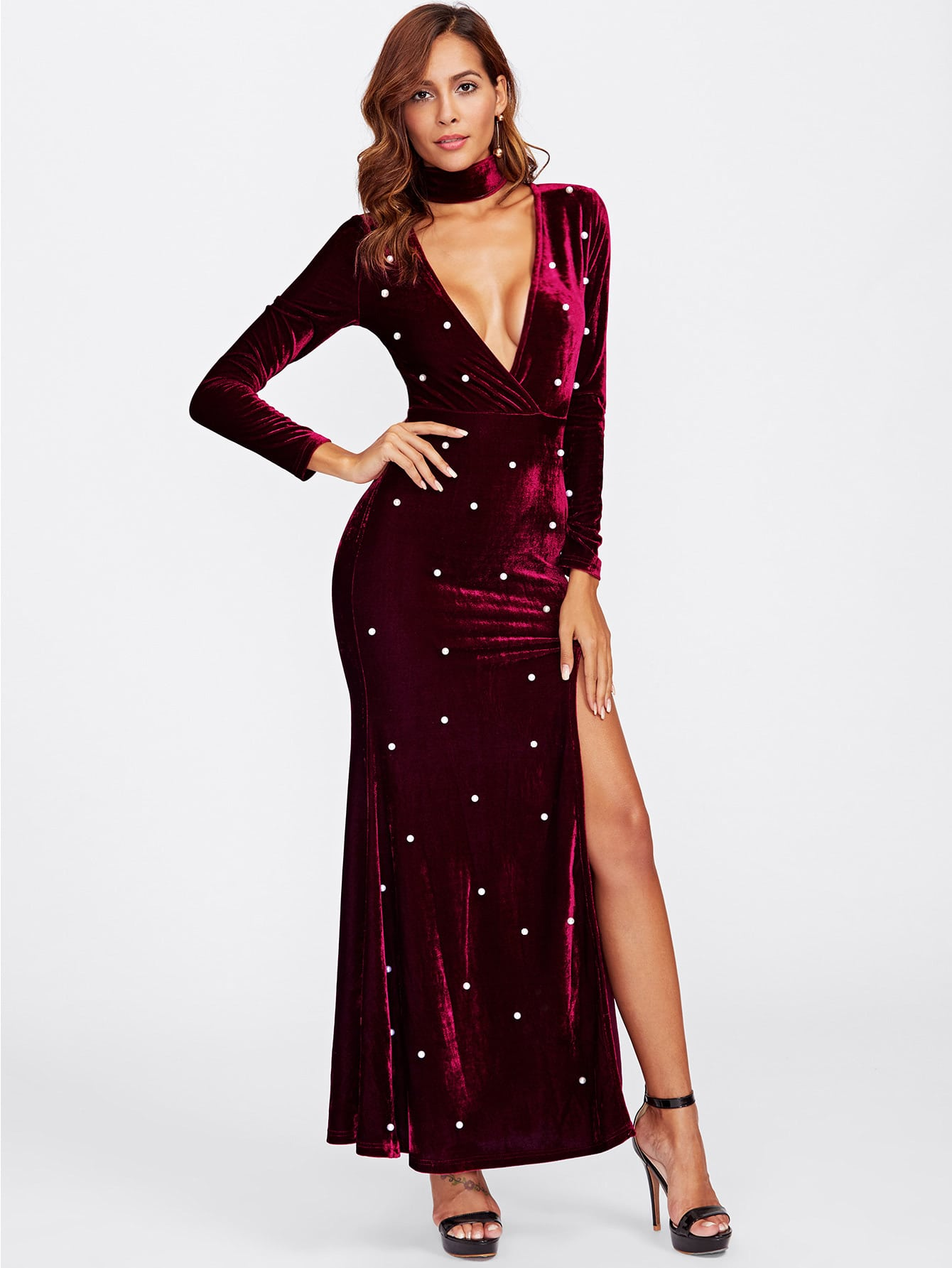 High Slit Plunging Velvet Dress With Neck Tie лампочка филипс 007054 b1s 35w e1 04j dot 9285 141 294