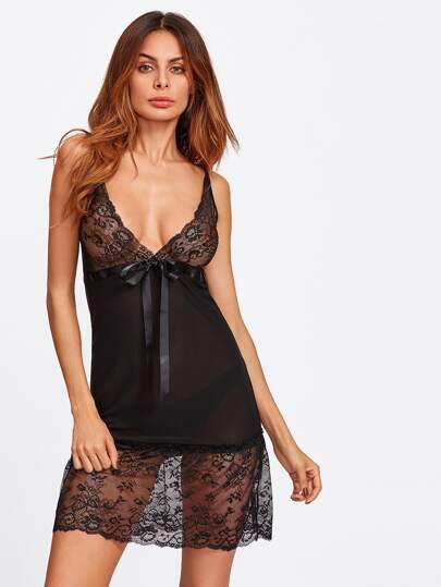Bow Front Lace Panel Plunging Nightdress