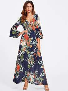Random Botanical Print Flare Sleeve Wrap Dress