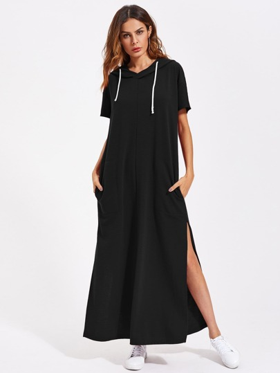 Pocket Side High Slit Hoodie Dress