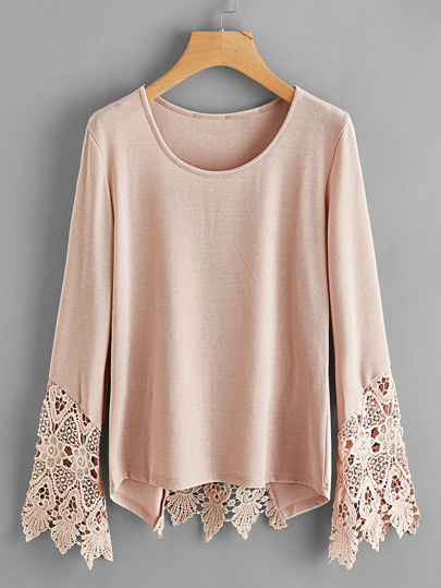 Lace Panel V Cut Back Tee
