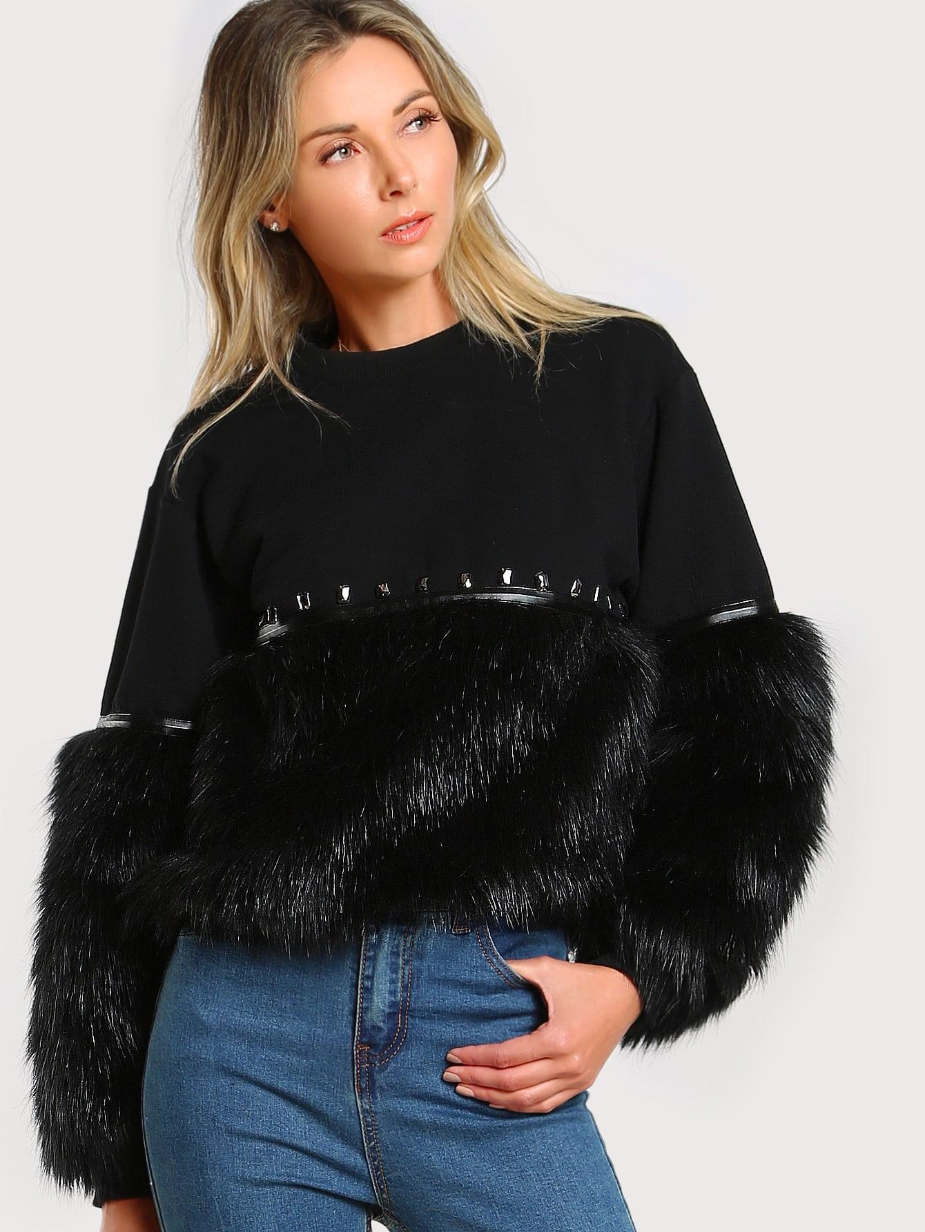 Gem Beading Faux Fur Panel Sweatshirt drop shoulder contrast faux fur sleeve sweatshirt