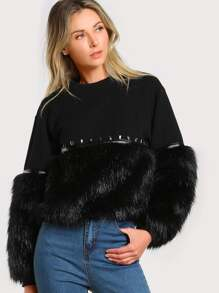 Gem Beading Faux Fur Panel Sweatshirt