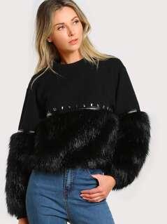 Gem Beading Faux Fur Panel Sweatshirt