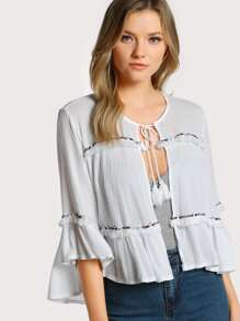 Front Tie Tassel Embroidered Top WHITE