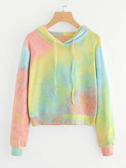 Water Color Drawstring Hooded Sweatshirt