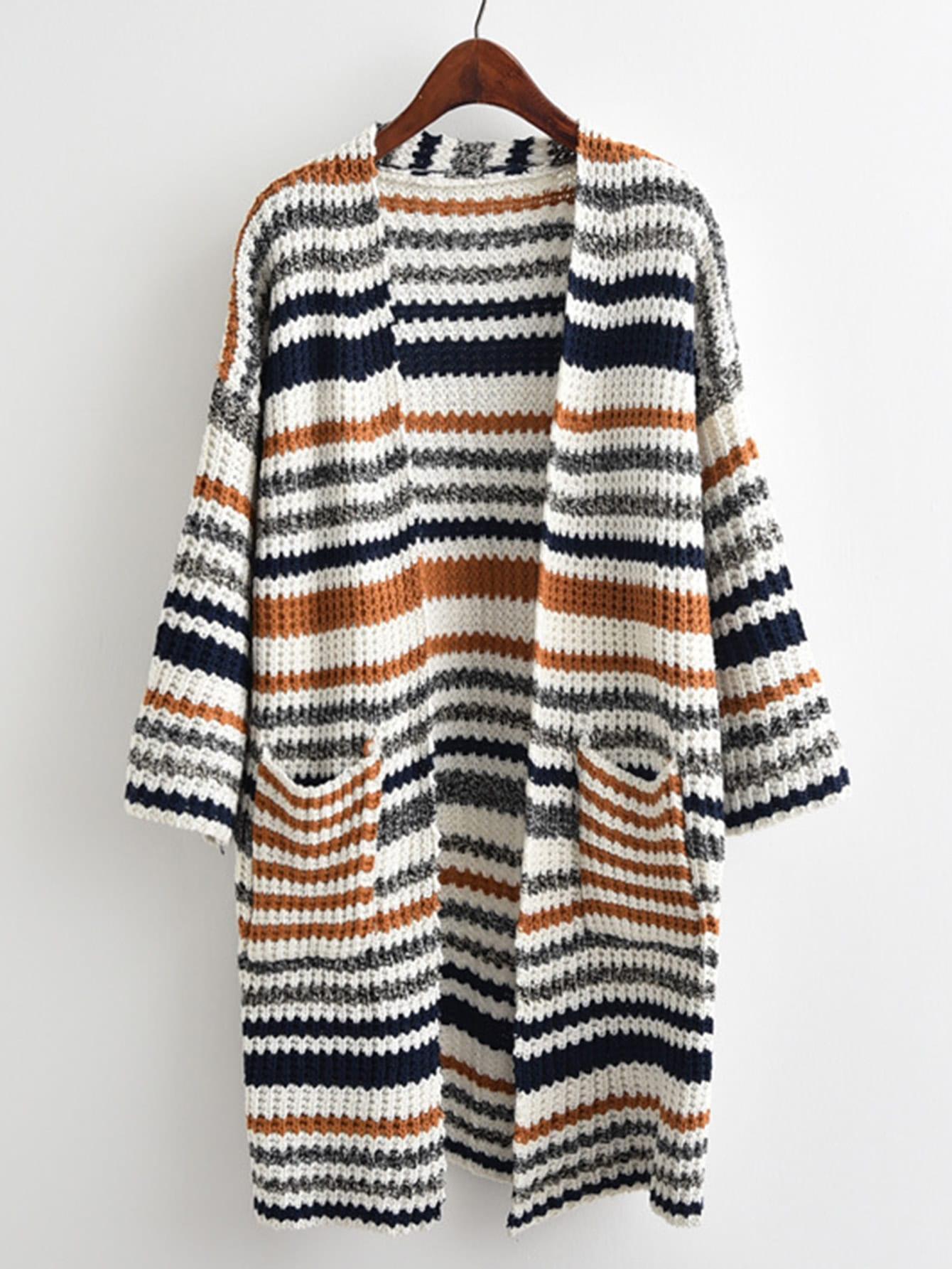Striped Textured Knit Longline Cardigan Sweater t100 children sweater winter wool girl child cartoon thick knitted girls cardigan warm sweater long sleeve toddler cardigan