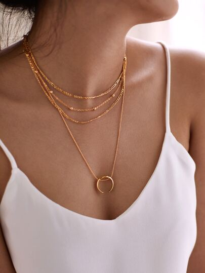 Moon Pendant Layered Chain Necklace