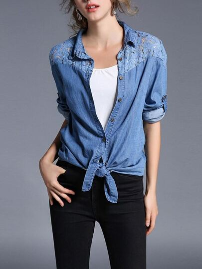 Lace Contrast Yoke Roll Up Sleeve Denim Shirt