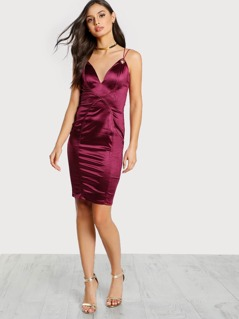 Criss Cross Back Bodycon Dress BURGUNDY