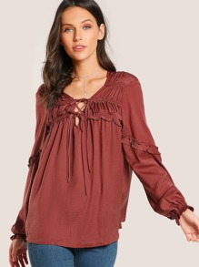 Ruffle Accent Cut Out Top RUST