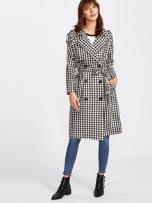 Cape Detail Self Tie Gingham Trench Coat