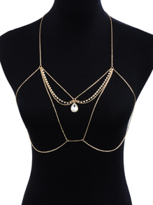 Water Drop Rhinestone Detail Bralet Body Chain