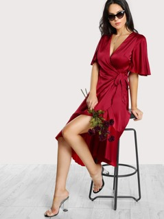 Flutter Sleeve Ruffle Dip Hem Wrap Dress