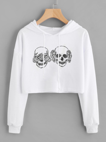 Drop Shoulder Graphic Print Crop Hoodie