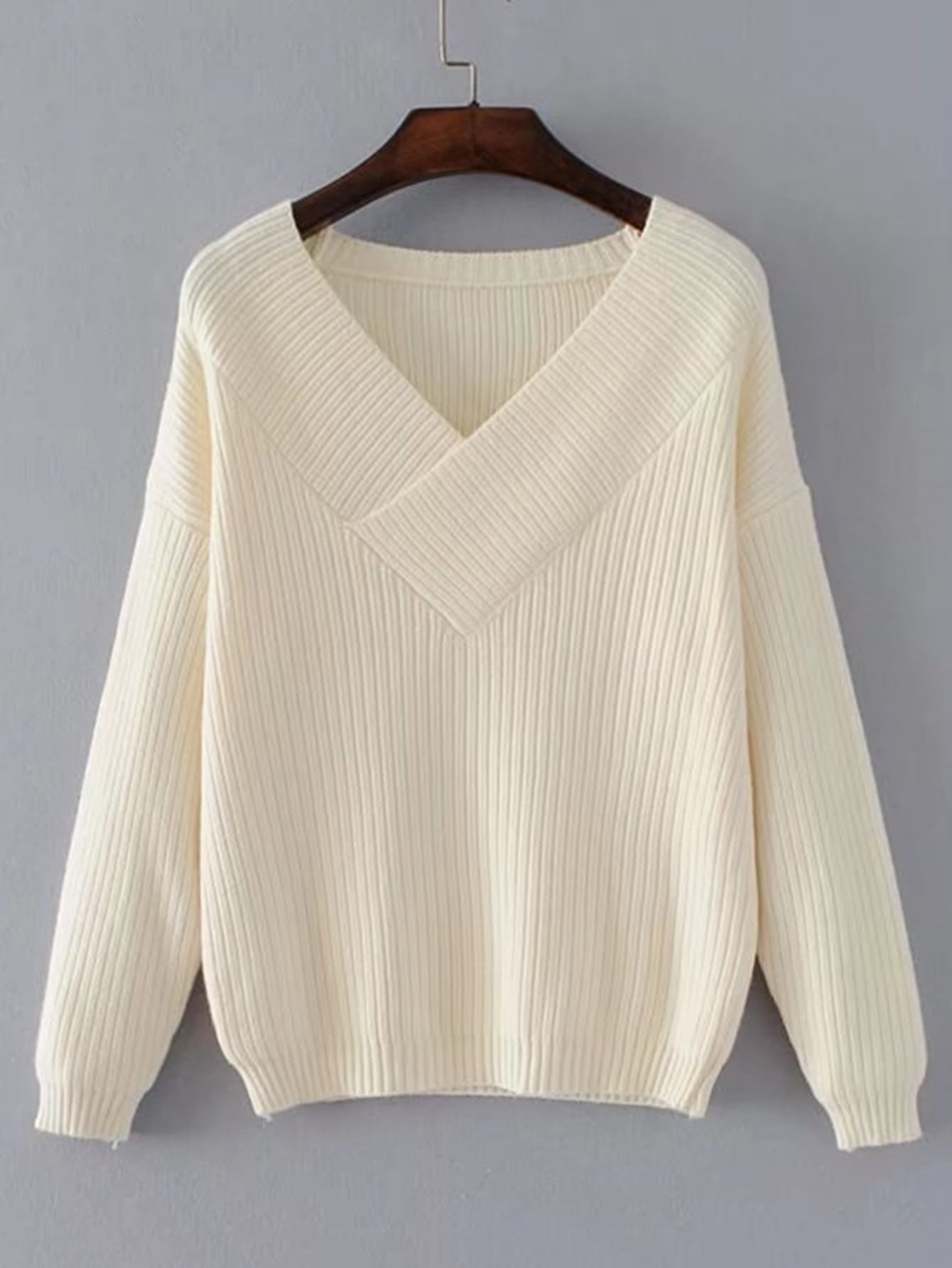 Surplice V Neckline Ribbed Knitwear sweater170905205