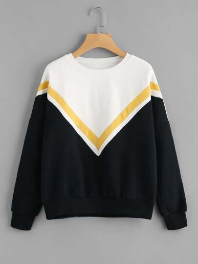 Drop Shoulder Color Block Striped Sweatshirt