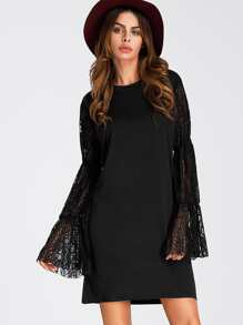 Bell Sleeve Lace Contrast Dress