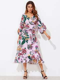 Mixed Print Gathered Sleeve Surplice Wrap Dress