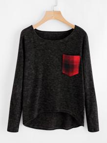 Contrast Pocket Dip Hem Slub Sweater